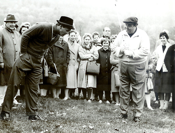 "Jackie Gleason and Arnold Palmer, Shawnee Country Club, October 1960                                              ""He was so full of life on the course, always coming up with one-liners,"" Palmer said of Gleason. ""He was just a special person, he had me laughing all the time. His stuff wasn't always stuff you'd want everyone to hear, but he was funny all the time."""