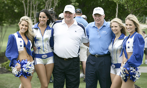 The Cowboys' cheerleaders joined head coach Wade Phillips and owner Jerry Jones for a charity fundraiser at Cowboys Golf Club in Grapevine, Texas.