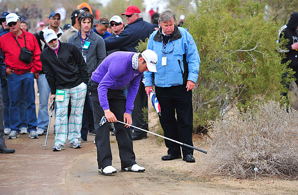 Martin Kaymer took a drop for an unplayable lie as he fell behind early in his match against Donald.