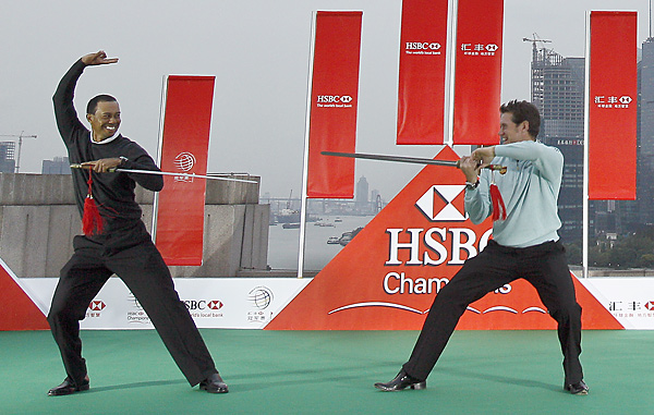 Tiger Woods and Lee Westwood had some fun during a martial arts exhibition. Westwood recently passed Woods for No. 1 in the World Ranking.