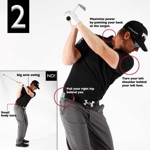 "The power-packing move will also fix your slice.""Most amateurs drain power instead of building it by starting their backswings with their arms. I like to feel as through my arms and hands are simply coming along for the ride as I wind up with my upper body and hips. Here's a foolproof way to get your swing off to a good start: From address, pull your right hip behind and turn your left shoulder to the left of your left foot. If you do it in tandem, it should feel as though your chest is rotating in place."""