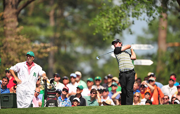 Rory McIlroy began the day with a four-shot lead, but he bogeyed No. 1 and No. 5 to fall back to the pack.