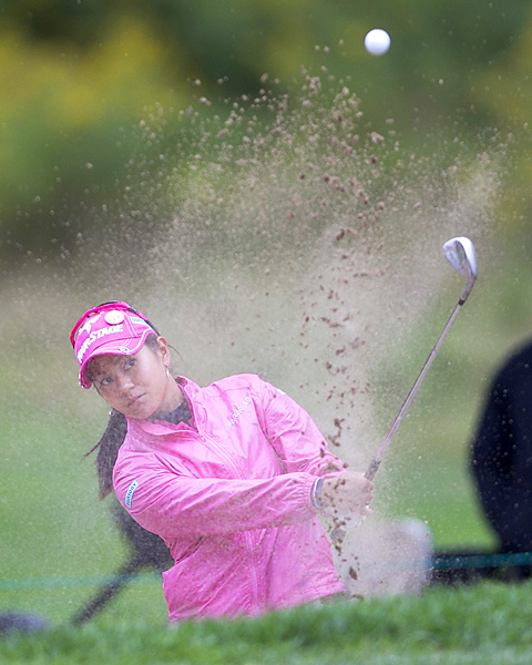 Ai Miyazato was tied for the lead through three rounds, but struggled to a 77 and tied for 16th.