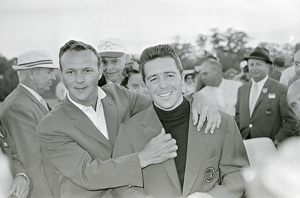 2. The 1961 Masters                       After becoming the first foreign-born player to win the Masters, Player received his green jacket from defending champion Arnold Palmer — who finished one stroke back.