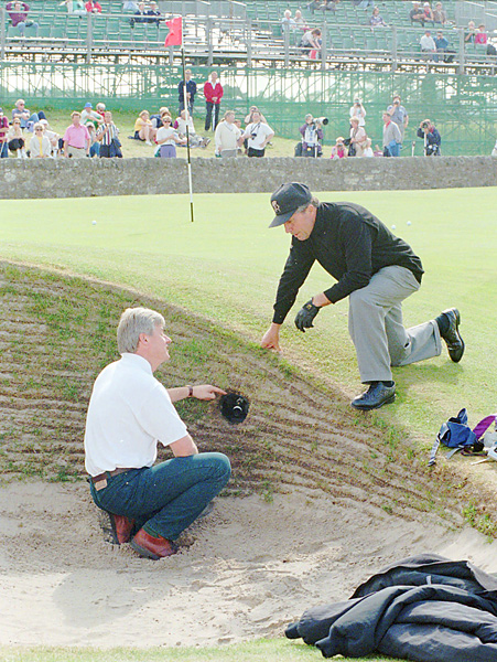 Player chatted with a photographer during a practice round at St. Andrews before the 1995 British Open. That week Player became, at 59, the oldest player to make a cut at a British Open.