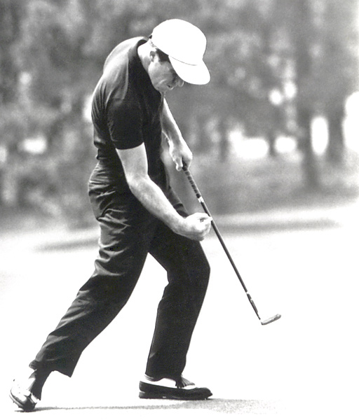Player celebrated a putt at the 1965 Masters, but he would finish tied for second. He went on to win the next major that year, the U.S. Open.
