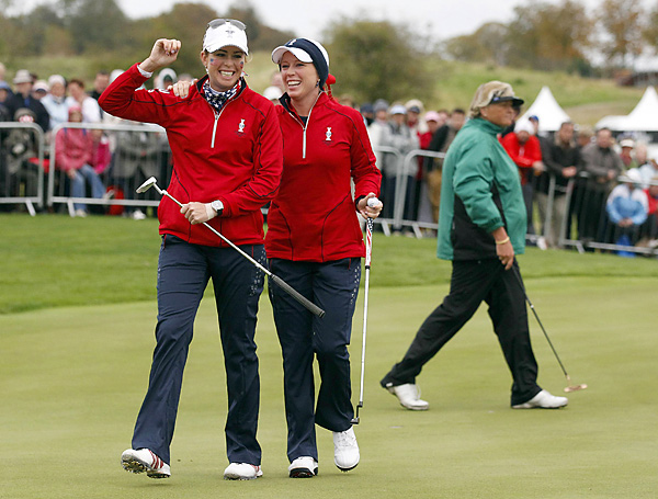 Pressel (right) and Creamer won their Friday four-ball match, and Pressel went on to defeat Anna Nordqvist 2 & 1 in Sunday singles to finish the week 4-0-0.