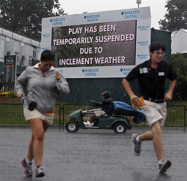Play was delayed for more than three hours after a storm hit Thursday morning.