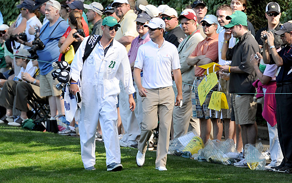 Andy Roddick caddied for Zach Johnson at the 2011 Par 3 Contest.
