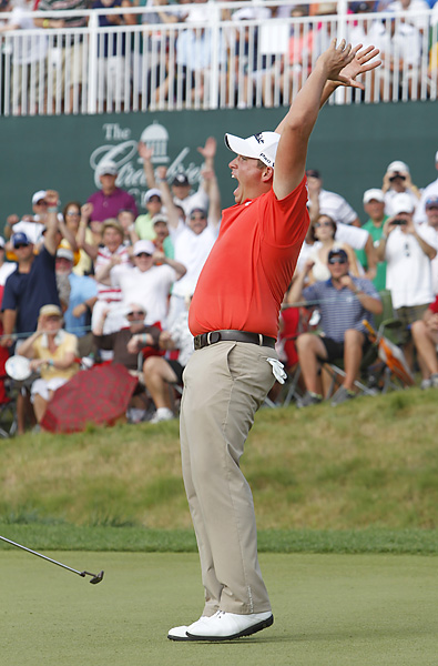 Scott Stallings drained a six-foot birdie putt on the first hole of sudden death to win his first career PGA Tour event.