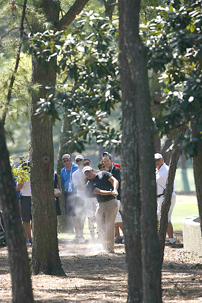 PGA Tour rookie Scott Stallings escaped trouble and shot a 70 to finish alone in third place.