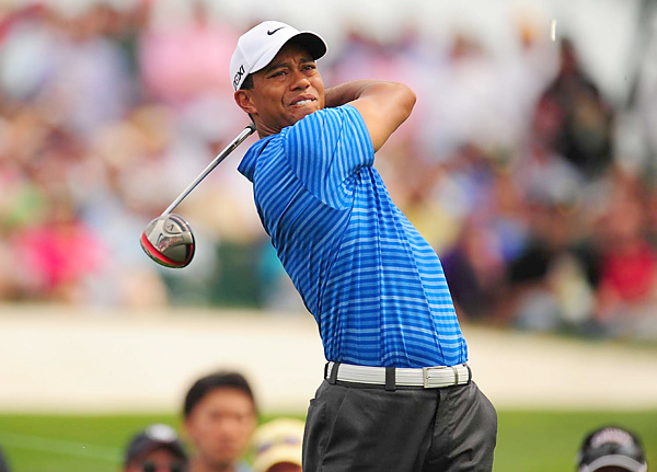 Tiger Woods began the day three shots back, but he shot a two-over 74 and now trails Rory McIlroy by seven shots heading into Sunday.