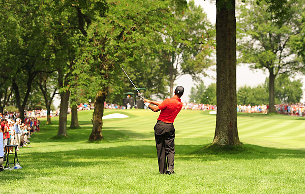 Tiger Woods missed seven straight fairways at one point in his final round while shooting an even-par 70.