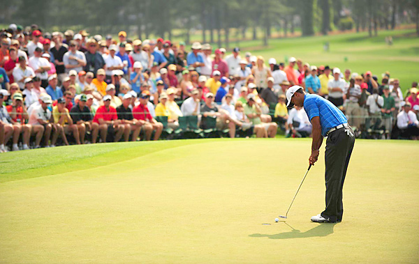 Woods will need to make up a big deficit to win his fifth green jacket.