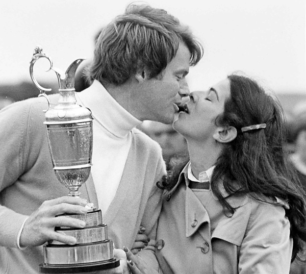 Tom and Linda (here celebrating his 1980 British Open win) were high school sweethearts and were married for 25 years before divorcing in 1997.