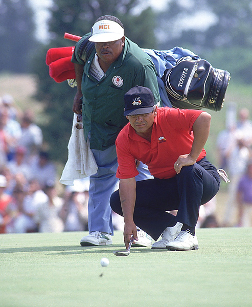 Lee Trevino and Herman Mitchell                           Lee Trevino had a great straight man in Herman Mitchell (shown here at the 1986 U.S. Open), who could flat-out play, too.