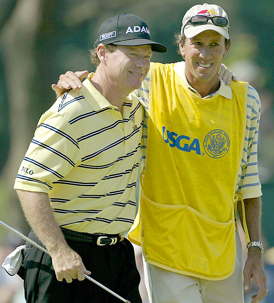 Tom Watson and Bruce Edwards                           When they came back home, Watson, Nicklaus, Palmer and Trevino had American caddies. Watson's man for nearly 30 years was Bruce Edwards, who died of Lou Gehrig's disease in 2004.