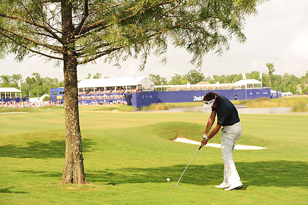 Including regulation play, Watson and Simpson played the 18th hole three times. Watson was able to salvage a par after driving under this tree in regulation, which forced the playoff.
