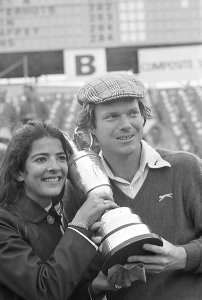 Tom Watson always played his best golf across the pond, winning five career British Opens. So it should come as no surprise that Watson's first major championship came in 1975 at Carnoustie (with wife, Linda, after his win).