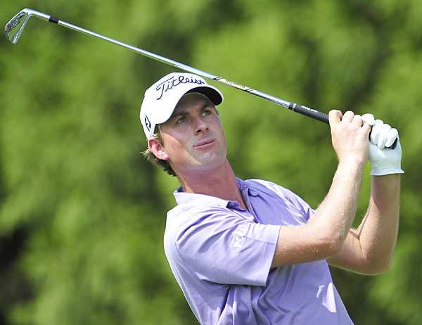 Webb Simpson missed a short par putt on the second extra hole of sudden death.