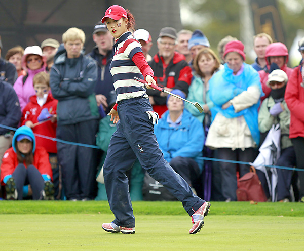Suzann Pettersen birdied her final three holes to beat Wie 1 up in Sunday singles. Wie finished 1-3 for the week.