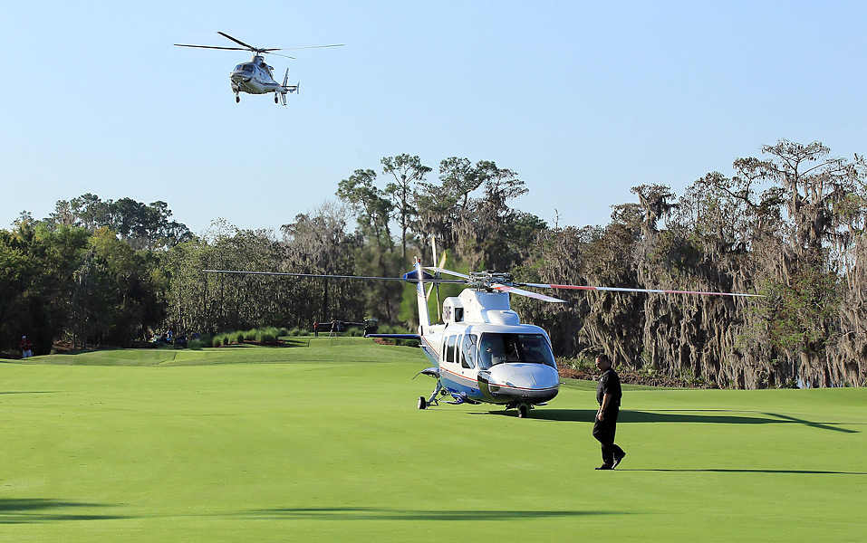 Players arrived in style: By helicopter.