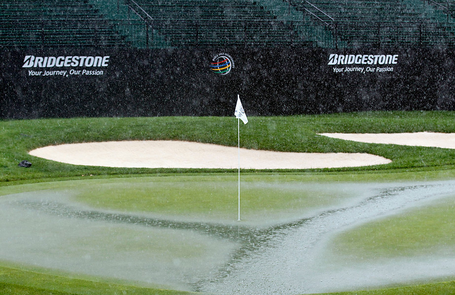 Sunday morning's play was delayed because of a storm.