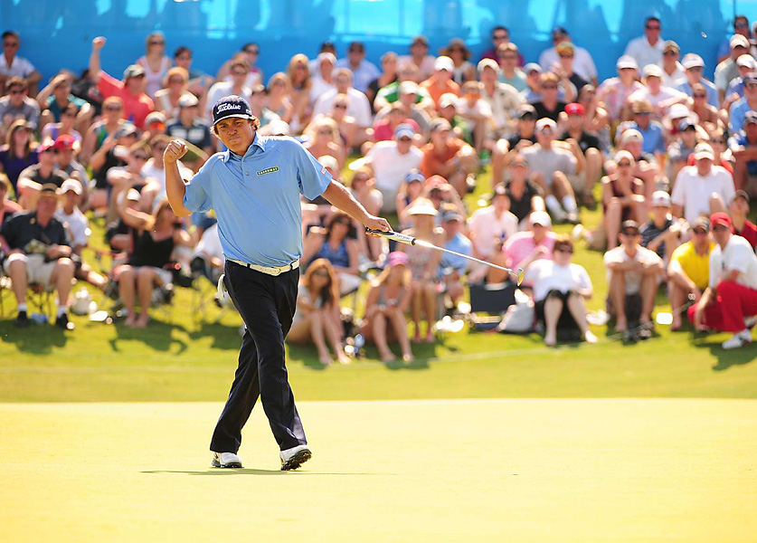 Jason Dufner buried a 25-footer for birdie on the final hole to win the Byron Nelson by one shot.