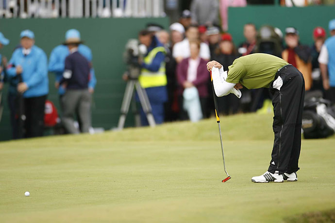 2007: Sergio Garcia misses a 6-foot putt to win the British Open at Carnoustie, then loses in a playoff to Padraig Harrington. Must be his damn belly putter's fault.