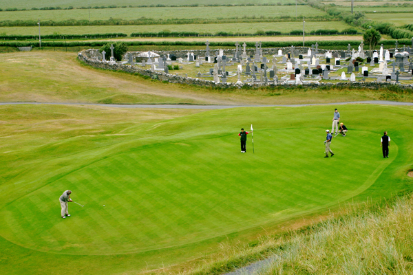 "Let's begin with a literal interpretation of ""ancestral links."" This is the sixteenth green at Ballybunion Old in County Kerry. It's right off the first tee, so watch out for snap-hooked drives. (And ghosts.)"
