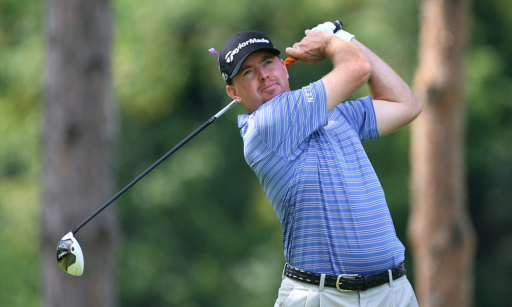 Robert Garrigus fired a 64 on Saturday to take a one-shot lead heading into the final round.