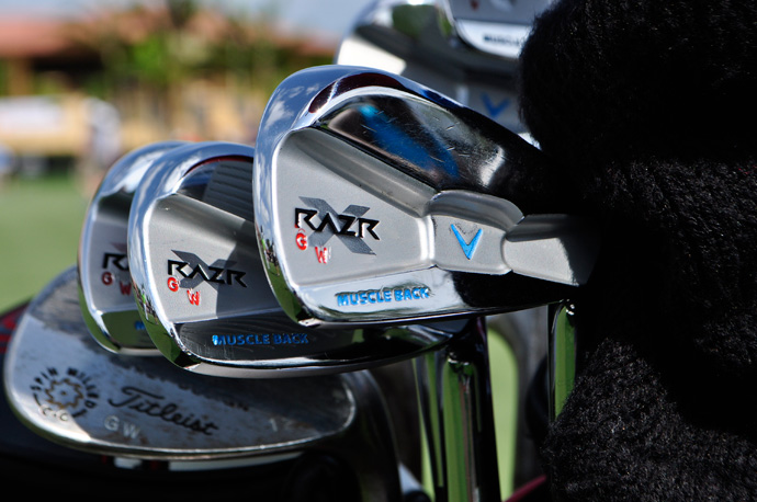 Check out the artful paint job on Gary Woodland's Callaway RAZR X Muscleback irons.