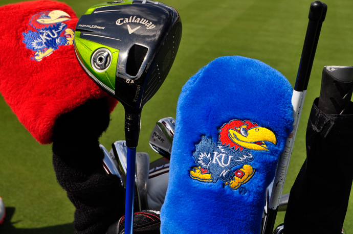 Gary Woodland displays his Kansas Jayhawk pride on his headcover.