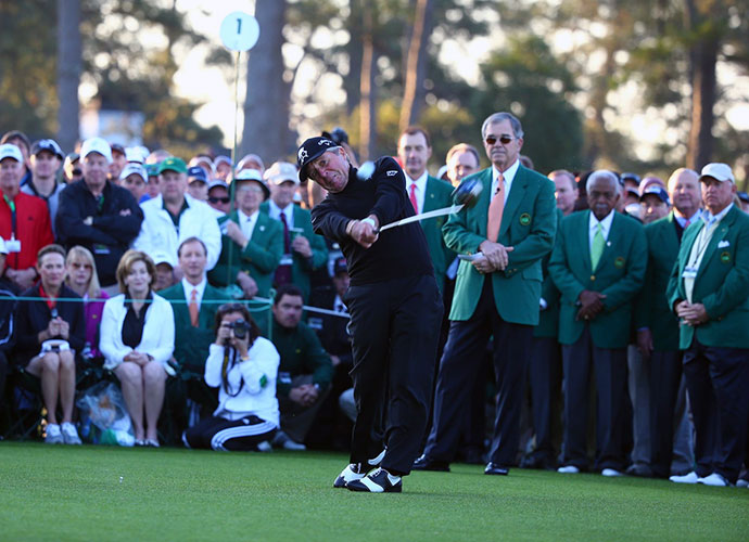 Gary Player stripes his ceremonial tee shot.