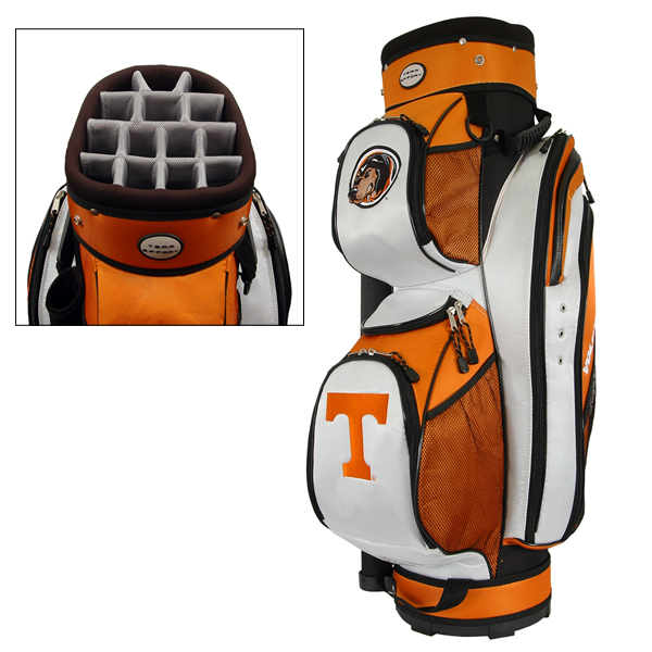 Team Effort NCAA Lettermans Club Cooler Cart Bag                           $149.99, globalgolf.com                           These golf bags feature an insulated cooler pocket, 14 different pockets and a removable rain hood — as well as four university logos.                                                       Also try:                           Golf bags from the NBA store                           Golf bags from the NFL storeComplete Holiday Gift Guide