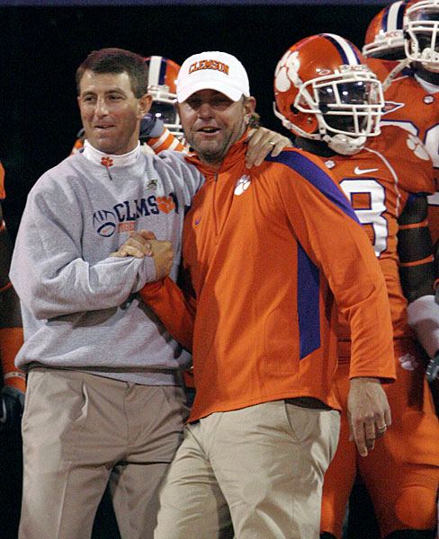 Lucas Glover helped Clemson head coach Dabo Swinney lead the team on the field in 2009.