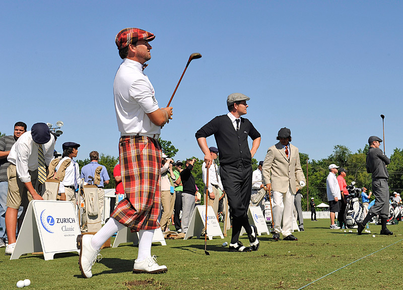From left, Graeme McDowell, Luke Donald and Rickie Fowler were among the players who donned vintage clothing and played with hickory clubs for a three-hole charity event on Tuesday at the Zurich Classic.