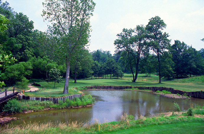 "The Golf Club                       Columbus, Ohio                                              Pete Says: ""I first used railroad ties on the short par four 13th hole at The Golf Club."""
