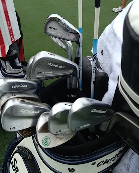 Gonzalo Fernandez-Castano's Cleveland CG1 Tour irons, 588 wedge, and lone Srixon forged two-iron.