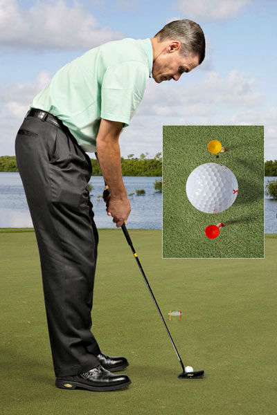 Jim's Tip                           Through the Gate to Make More Putts                                                                                 Find a straight five-foot putt  and stick two tees three inches apart in front of the hole.  Putt through the tees and into  the hole. When you can do it  consistently, move the tees  closer together. (You can place  them as close as two inches  apart.) The gate formed by the  tees is narrower than the hole,  so when you leave the practice  green, the hole will look as big  as a garbage can.                           Jim Murphy teaches at Sugar Creek  Country Club in Sugar Land, Texas.