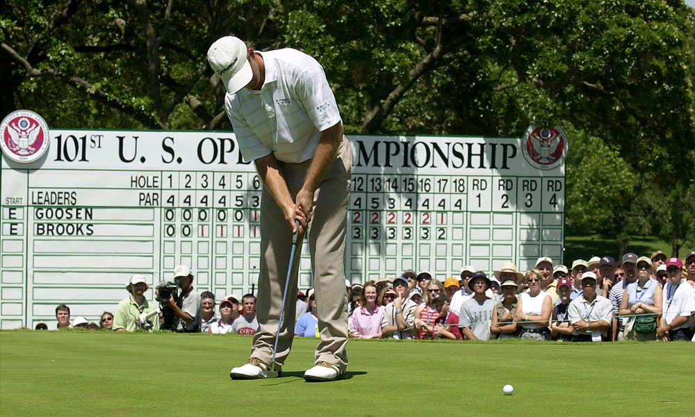 Retief Goosen: 2001 U.S. Open                           Goosen missed a two-foot par putt on the 72nd hole at Southern Hills that would have won the U.S. Open. However, this story has a happy ending. Goosen prevailed over Mark Brooks in an 18-hole playoff the next day to win his first U.S. Open.