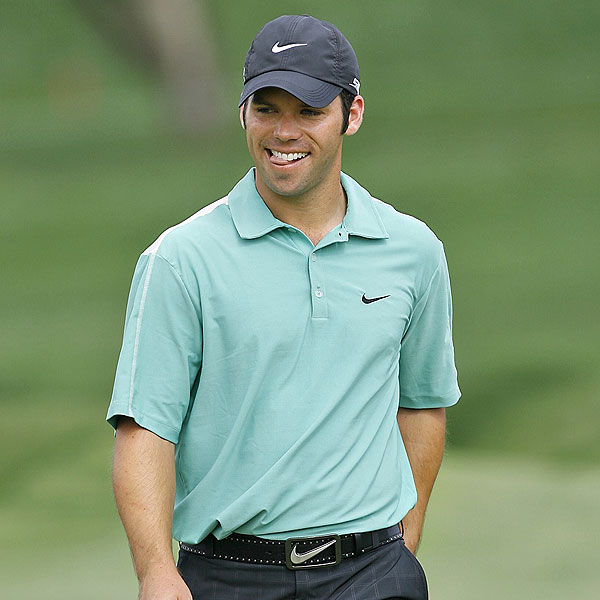 8. PAUL CASEY                           WORLD RANK 14th                           WORLDWIDE WINS 8                           Paul is an amazing athlete. He once had a contest with Phil Mickelson to see who could throw a ball onto the 7th green at Pebble Beach, from about 100 yards. Paul tossed it on with ease. Phil barely got it to the front bunker.... At 29 he's the best bet to be the first Englishman since Nick Faldo to don the green jacket.                                                      FINAL FORE Casey's swing looks like a machine model, and he has just the right blend of arrogance and cockiness.