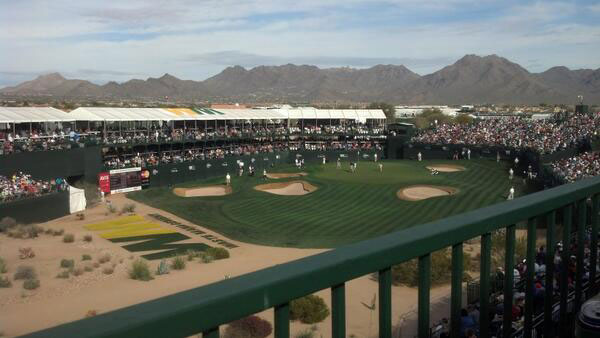 @nicklitwiller: Holding the fort down on holes 16 and 18 with @AJKaduce @tjmenke at the #greenestshow on grass #WMPhoenixOpen