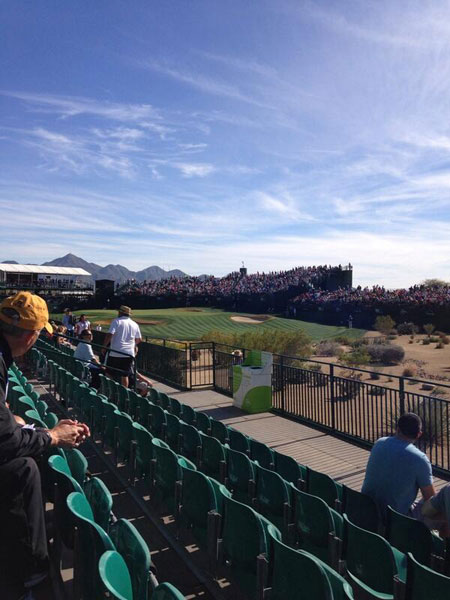 @RoutineGolfGear: Our seats @WMPhoenixOpen with @mcTwentyTwo @lilwolp @LeviSlings @oneputtblunder Weather is perfect here.