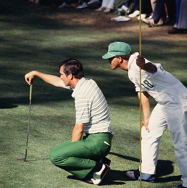 Hubert Green: 1978 Masters                           One shot back of Gary Player, who had finished earlier with a 64, Green nailed his approach to 3 1/2 feet (some say 3 feet) at 18. He crouched over his putt -- then backed away when he heard the radio announcer describing the scene. (Turned out to be Jim Kelly, who later found employment as a golf announcer for ESPN.) Green settled in again, and pushed his putt to the right.