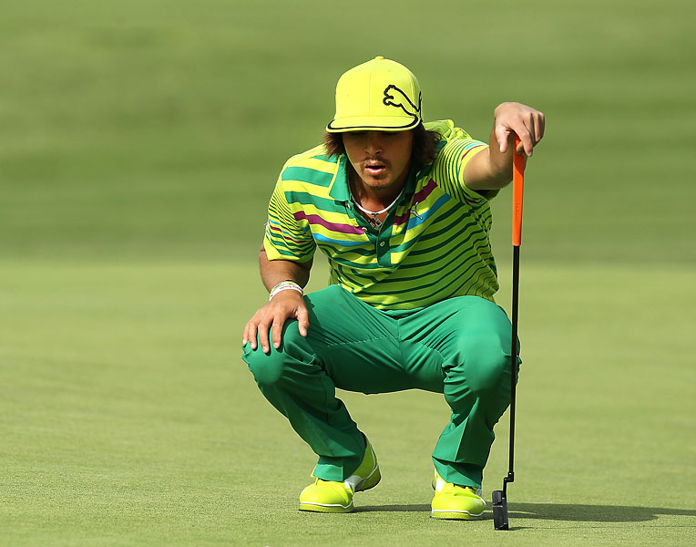 Rarely, very rarely, Fowler steps onto the course in clothes that look, well, normal. Understatement is not his game.