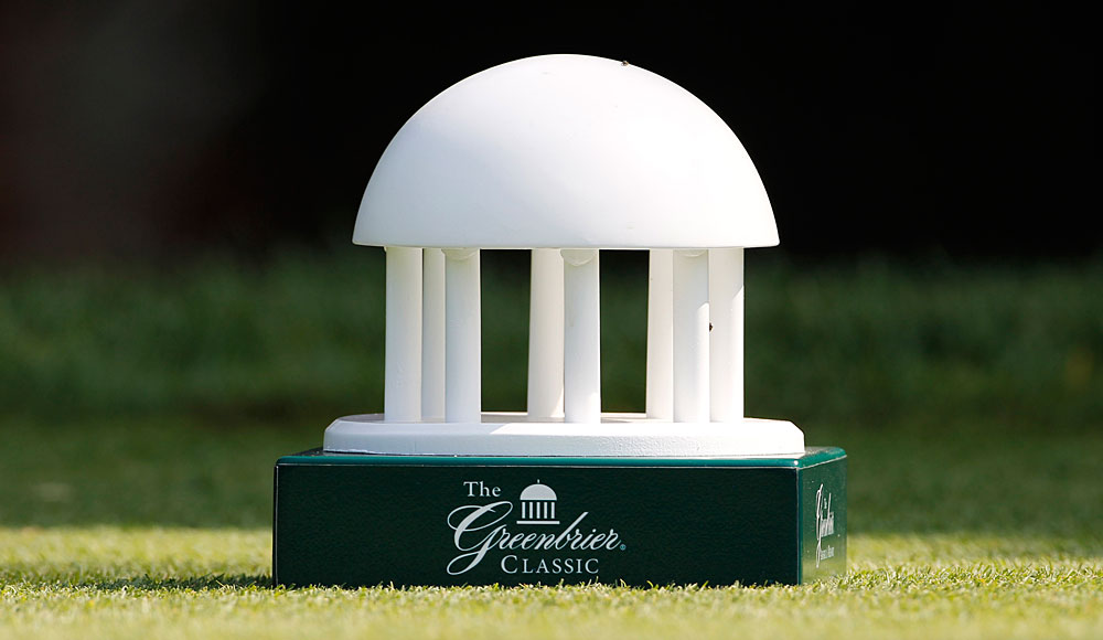 The Greenbrier gazebo serves and the tournament logo and tee marker.