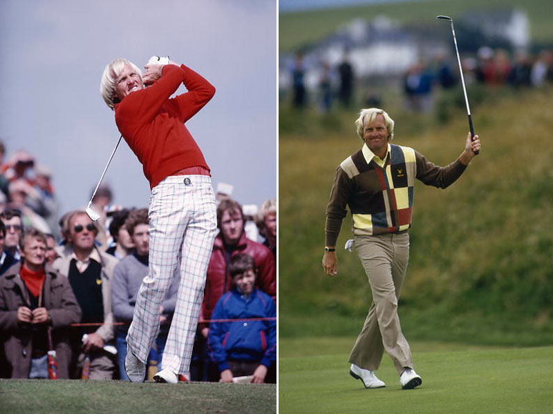 Greg Norman had long hair and the flare-leg '70s look going when he played in the Open at Muirfield in 1980. He won it in 1986, at Turnberry, in the sort of graphic patterned knitwear that his own apparel company is known for.