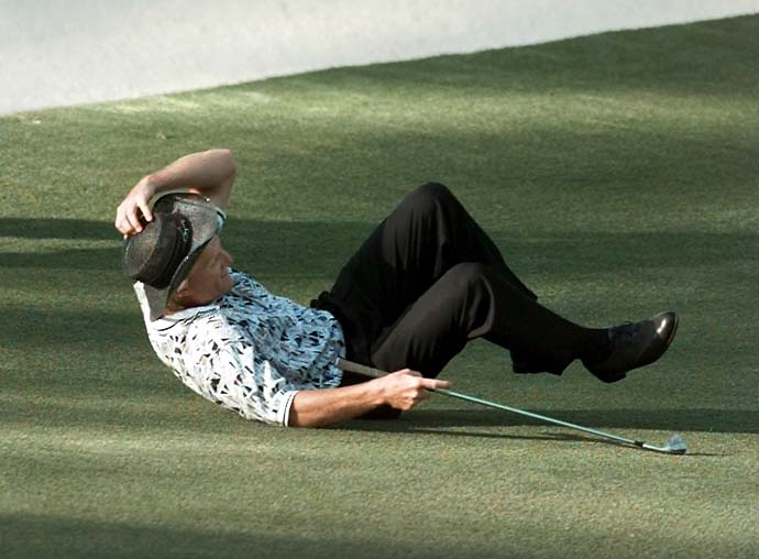 """There's more to it than people realize because I did have back issues that morning. I tried to walk it off but I couldn't. I told my coach, 'Today's not going to be easy.'""                           --Greg Norman on his back hurting during his famous Sunday collapse at the 1996 Masters."