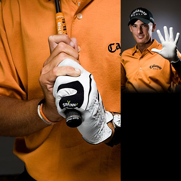 Charles Howell                       In 2002 I went from the interlock to the overlap. I practiced overlapping in November, December and January. It's true that the grip is the most difficult thing in golf to change. I'm always working on my hand strength with weights or gadgets. My hands are big, so I use the .580 grips built up with five wraps of tape. The .600s feel too thin.""